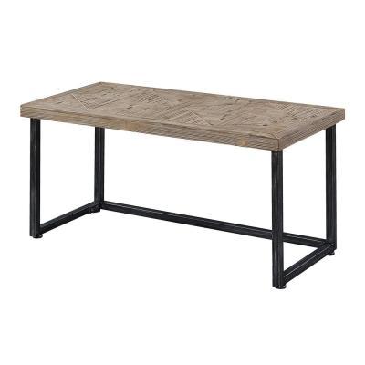 Laredo Parquet Natural Wood and Black Coffee Table