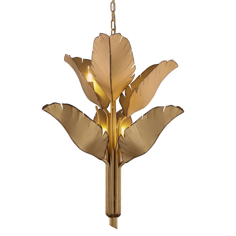 Banana Leaf 6-Light Gold Candlestick Chandelier