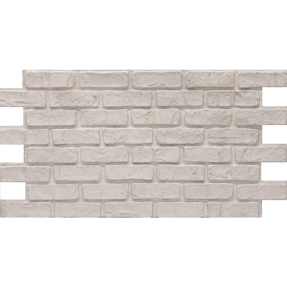 Urestone white 24 in x 46 3 8 in faux used brick panel - Exterior grade plywood home depot ...