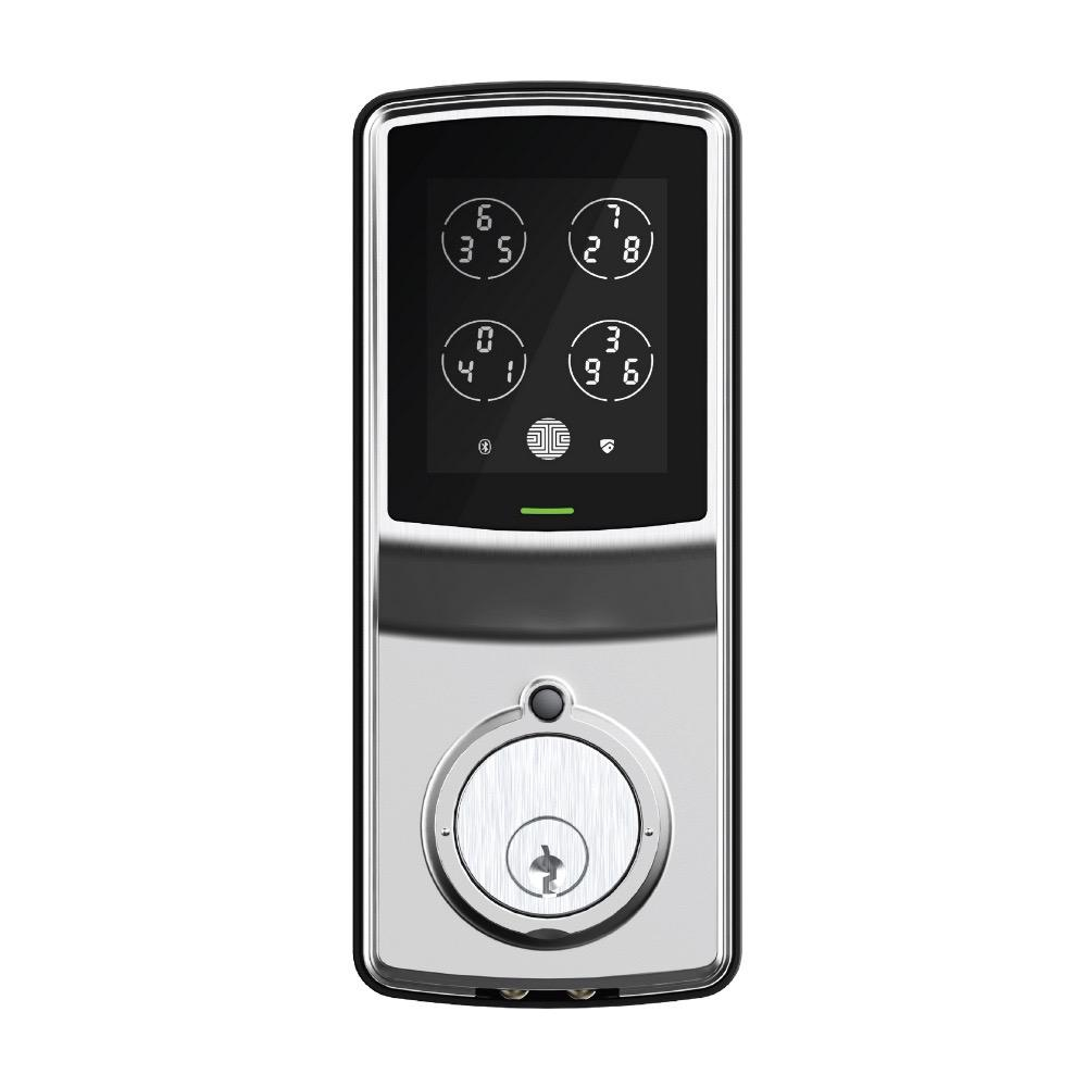 Lockly Model-S Satin Nickel Single-Cylinder Smart Deadbolt Lock with Keypad, Bluetooth and Discrete PIN Code Input