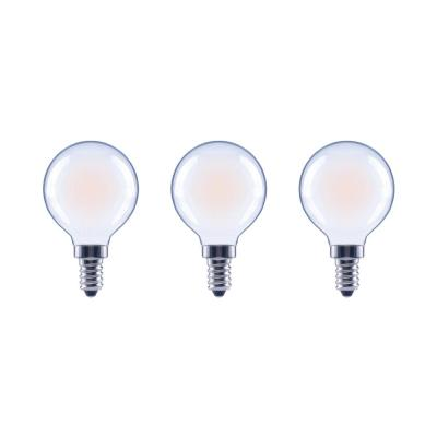 60-Watt Equivalent G16.5 Globe Dimmable Frosted Glass Filament Vintage LED Light Bulb Soft White (3-Pack)