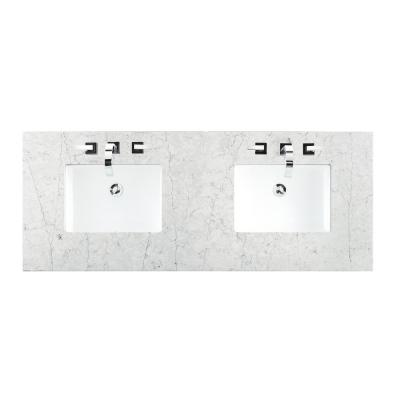 60 in. Silestone Quartz Double Basin Vanity Top in Jasmine Pearl