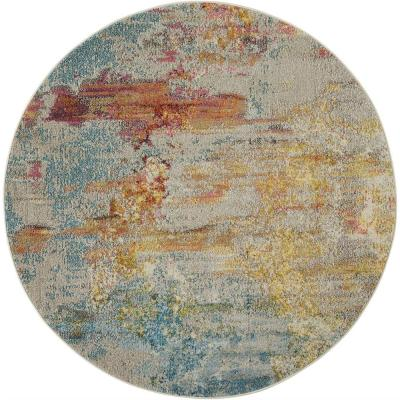Celestial Sealife Multicolor 5 ft. x 5 ft. Abstract Modern Round Area Rug