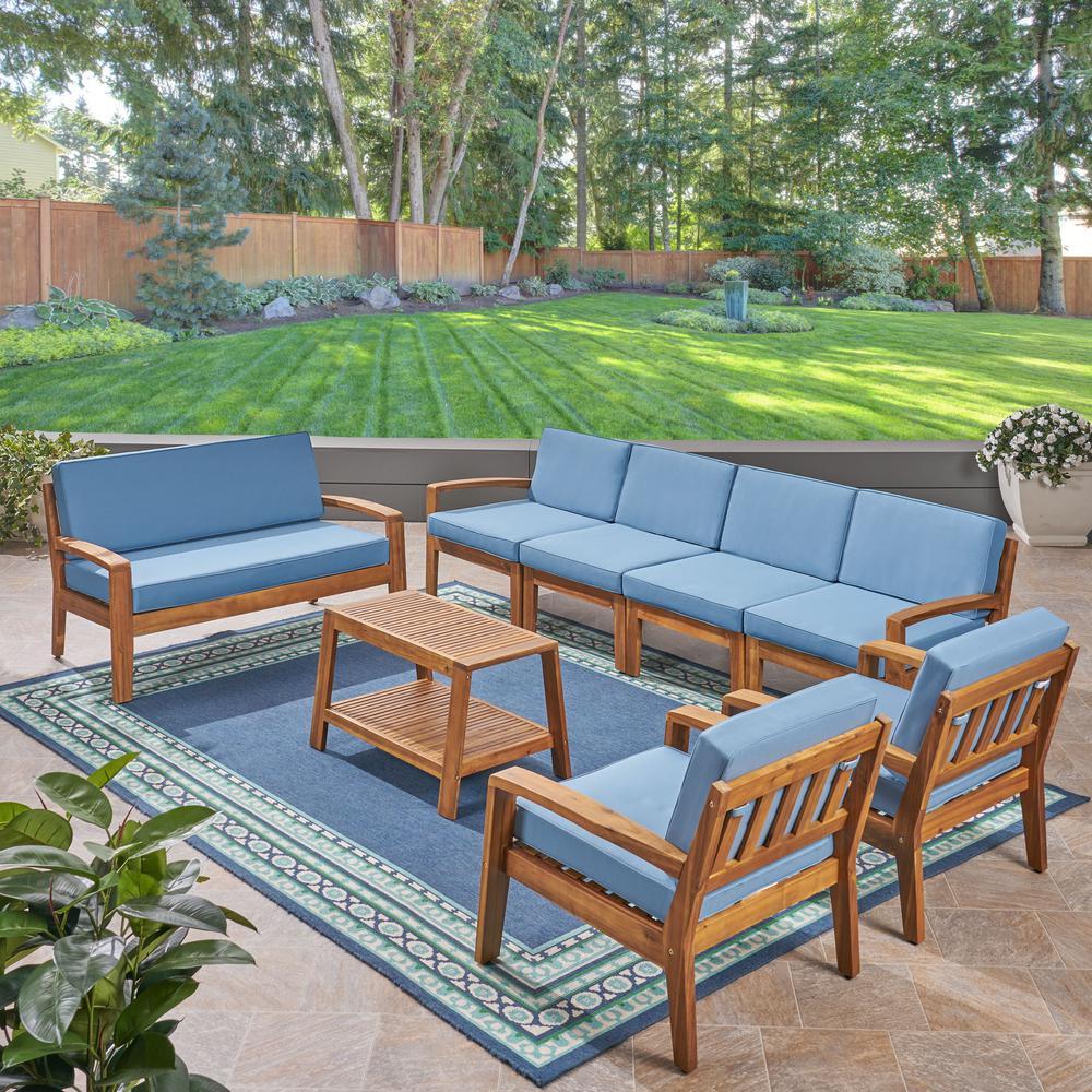Grenada 8-Piece Wood Patio Conversation Set with Blue Cushions