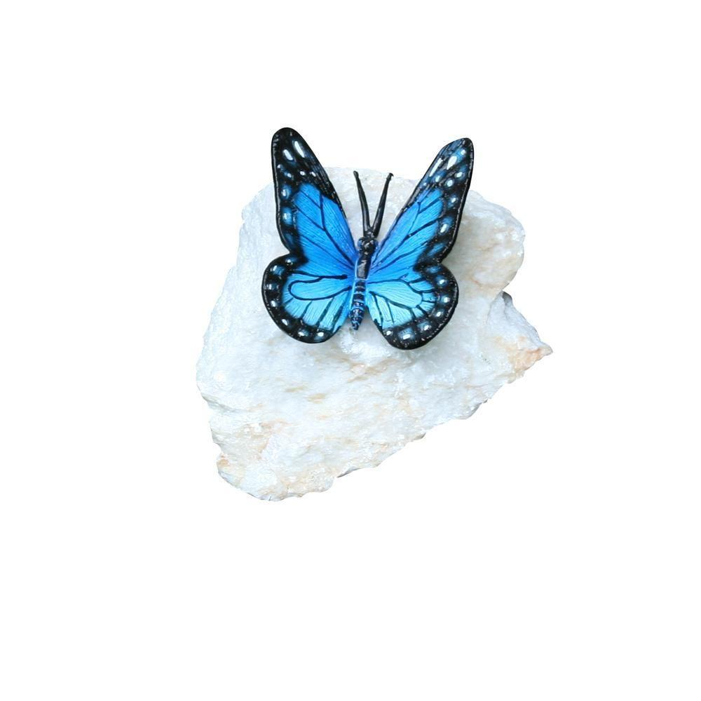 Henri Studio 5 in. Butterfly Blue Bronze and Stone Rock