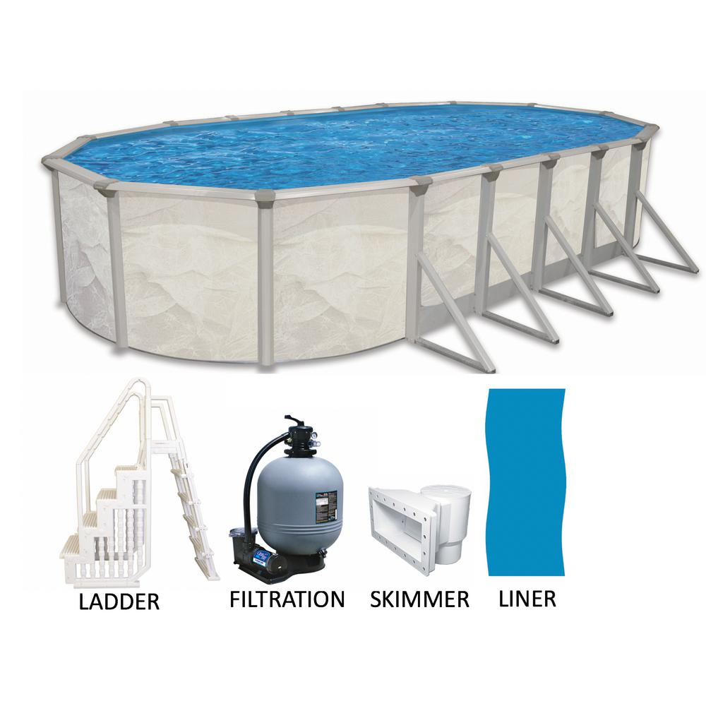 Independence 16 ft. x 32 ft. Oval x 52 in. Deep Metal Wall Above Ground  Pool Package with Entry Step System