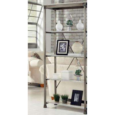 Five Shelf 38 in. W x 76 in. H x 16 in. D, Marble and Steel Orleans Shelving unit