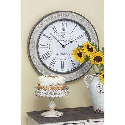 White-Washed 24 in. Round Wall Clock