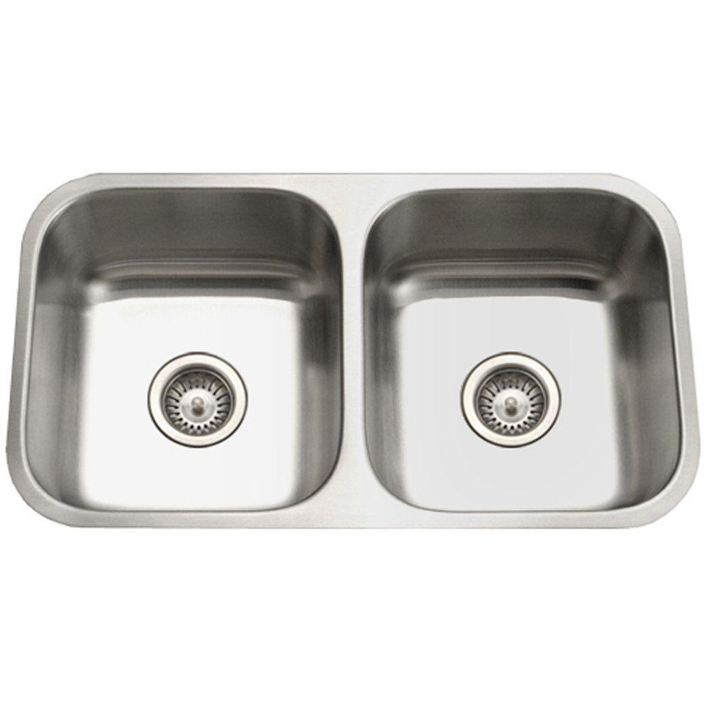 HOUZER Eston Series Undermount Stainless Steel 31 In. 50/50 Double Bowl Kitchen  Sink In Satin PND 3100 1   The Home Depot
