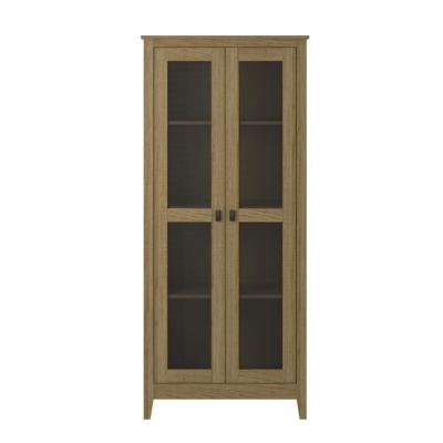 System Build Luca 31.5 in. Golden Oak Wide Storage Cabinet with Mesh Doors