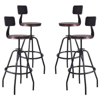 Getty Adjustable Silver Brushed Gray Barstool (Set of 4)