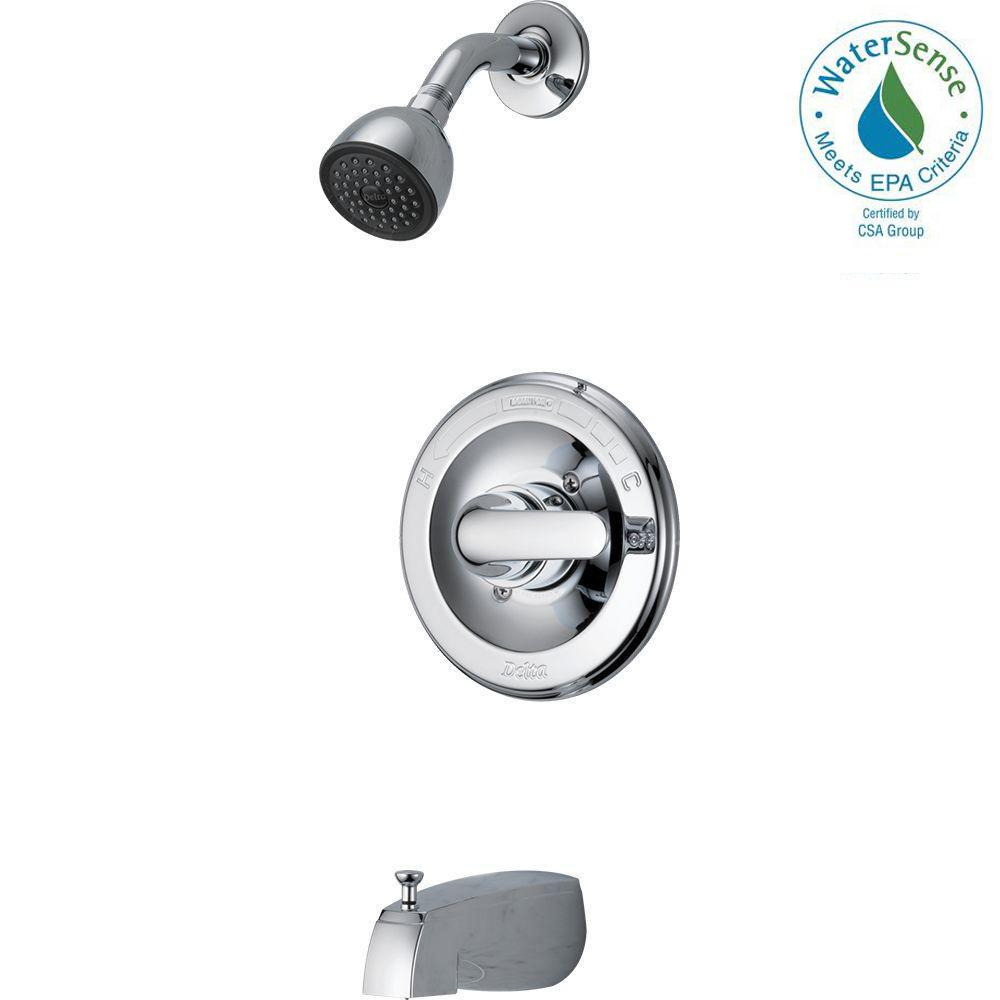 Delta Classic Single-Handle 1-Spray Tub and Shower Faucet in Chrome ...