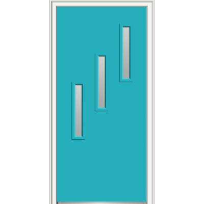 30 in. x 80 in. Davina Low-E Glass Left-Hand 3-Lite Clear Vertical Modern Painted Fiberglass Smooth Prehung Front Door
