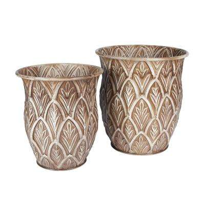 Bronze Metal Etched Floor Decorative Vases Set (2-Piece)
