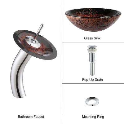 Lava Glass Vessel Sink in Brown with Waterfall Faucet in Chrome