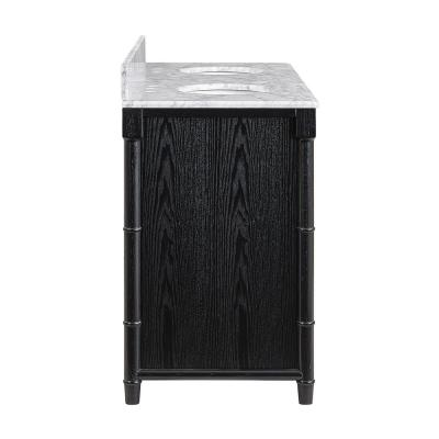 Sabata 64 in. W x 22 in. D Bath Vanity in Black with Italian Marble Vanity Top in White and Gray with White Basin