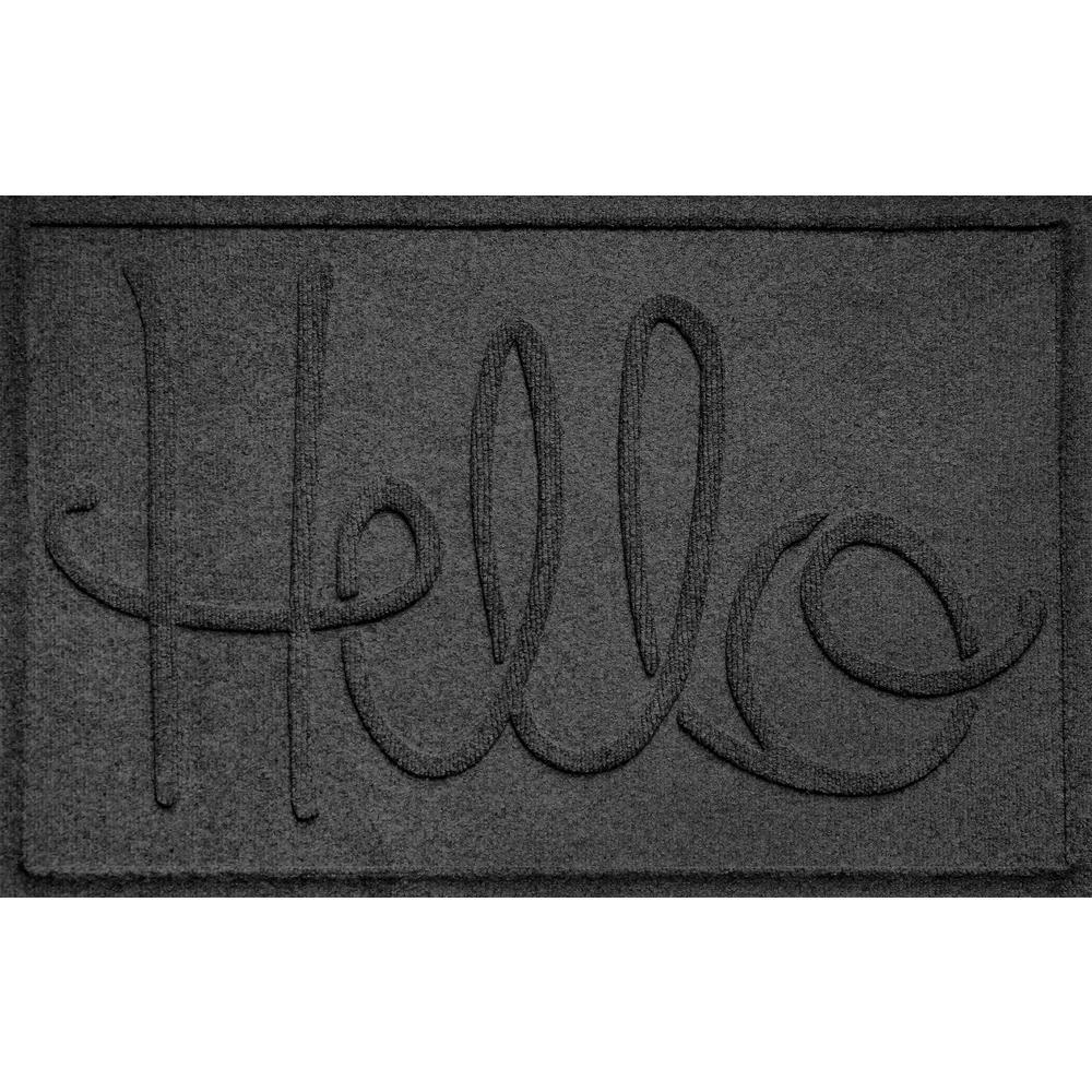 Simple Hello Charcoal 24 in. x 36 in. Polypropylene Door Mat