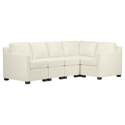 Chi Town Creamy White Brushed Velvet Sectional