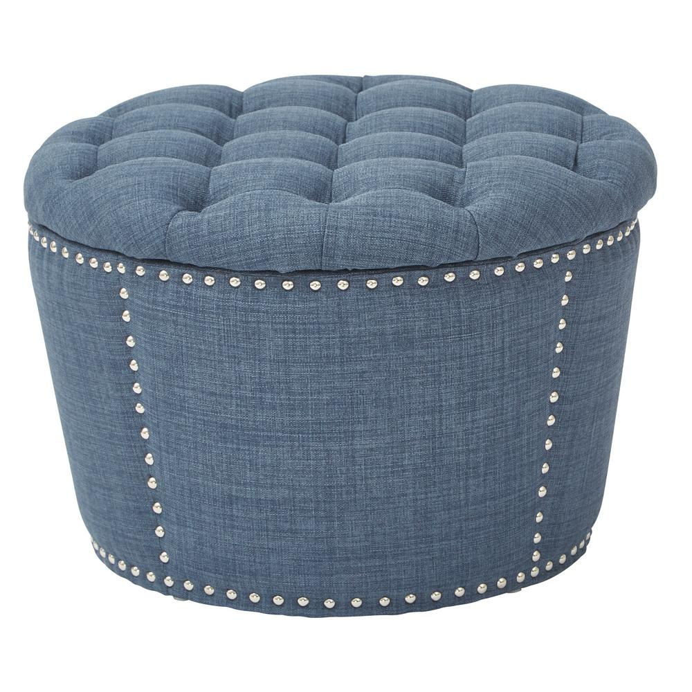 Charmant OSP Accents Lacey Indigo Tufted Storage Ottoman Set