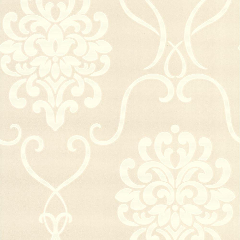 null Suzette Taupe Modern Damask Wallpaper