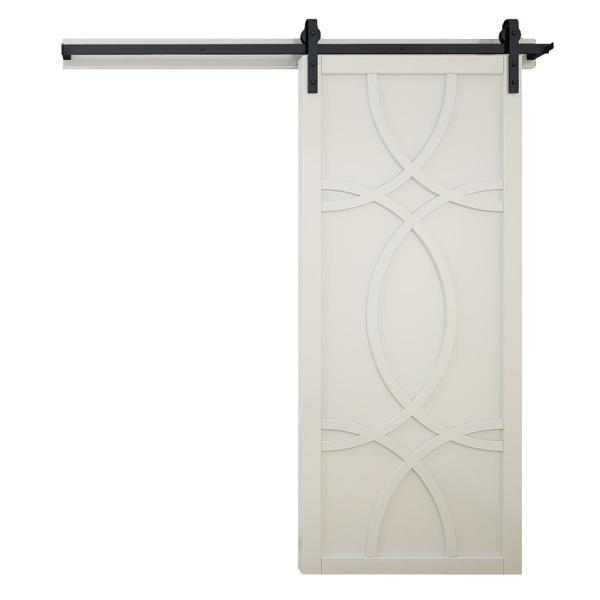 36 in. x 84 in. Hollywood Primed Wood Sliding Barn Door with Hardware Kit
