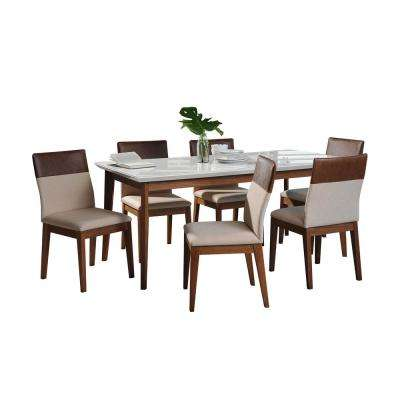Lillian 62.99 in. and Duke 7-Piece White Gloss and Dark Beige and Brown Dining Set