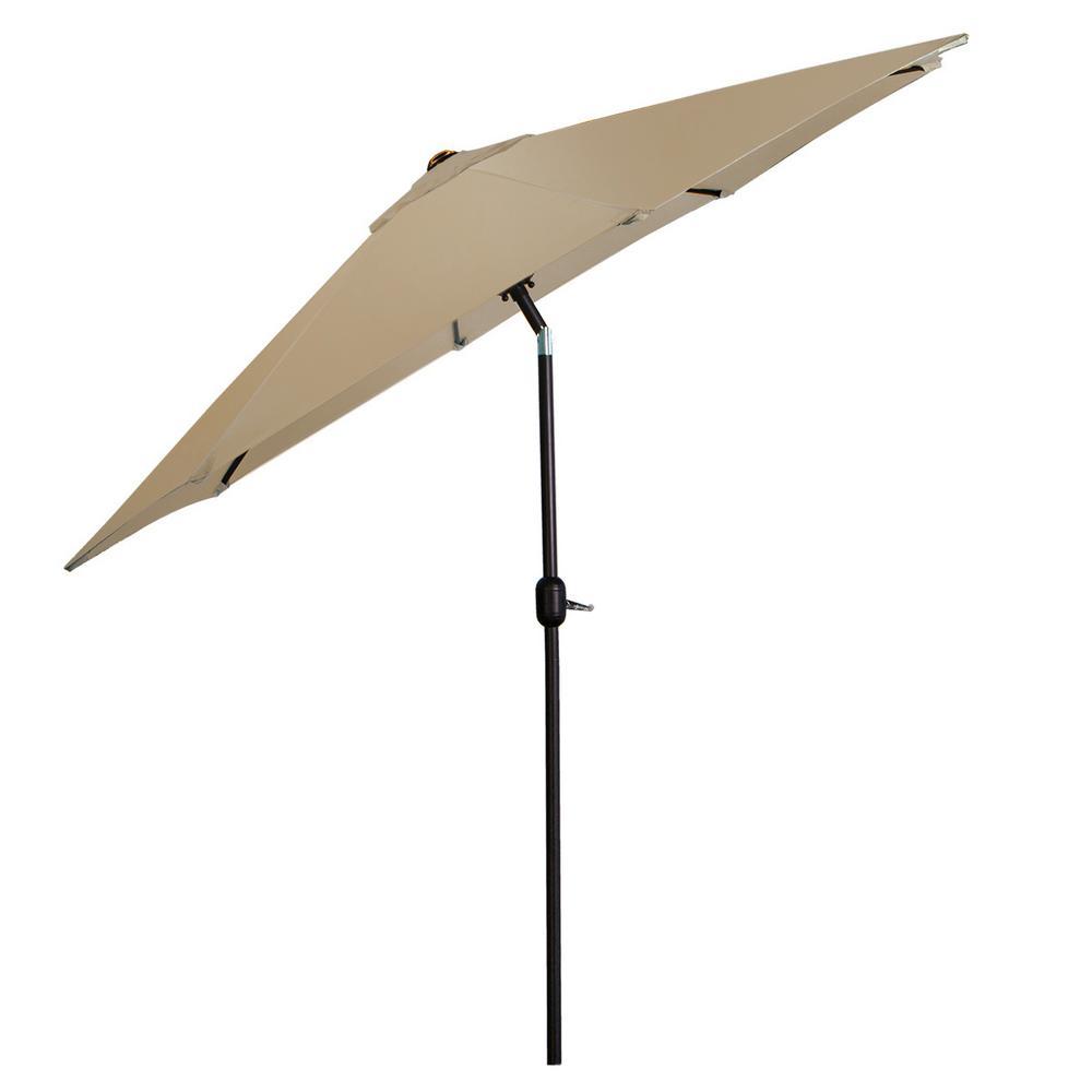 9 ft. Steel Outdoor Patio Umbrella in Tan