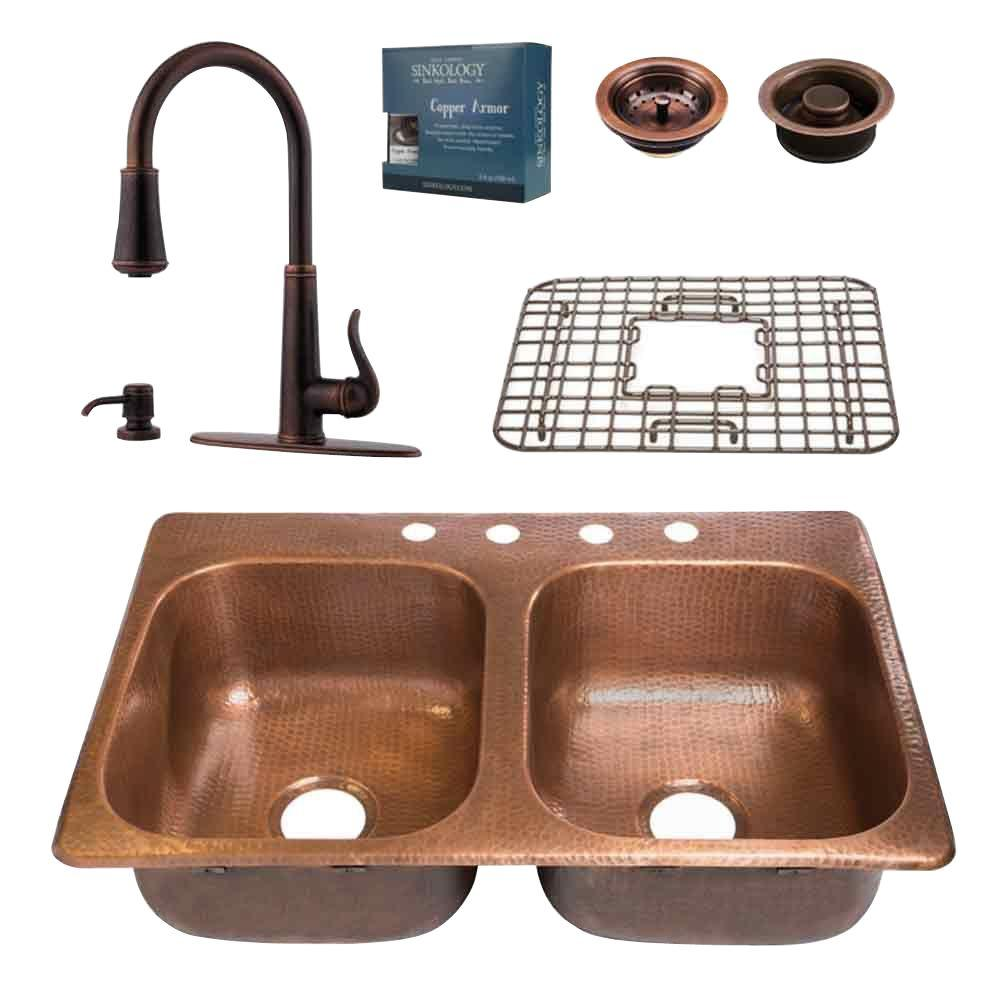 Medium image of sinkology pfister all in one drop in copper 33 in  4 hole double bowl kitchen sink with faucet design kit in rustic bronze kdf 3322 gt529   the home depot