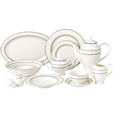 57-Piece Silver Dinnerware Set-New Bone China Service for 8-People-Arianna