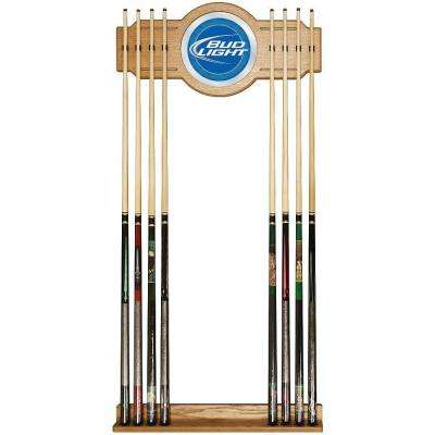 Bud Light Blue 30 in. Wooden Billiard Cue Rack with Mirror