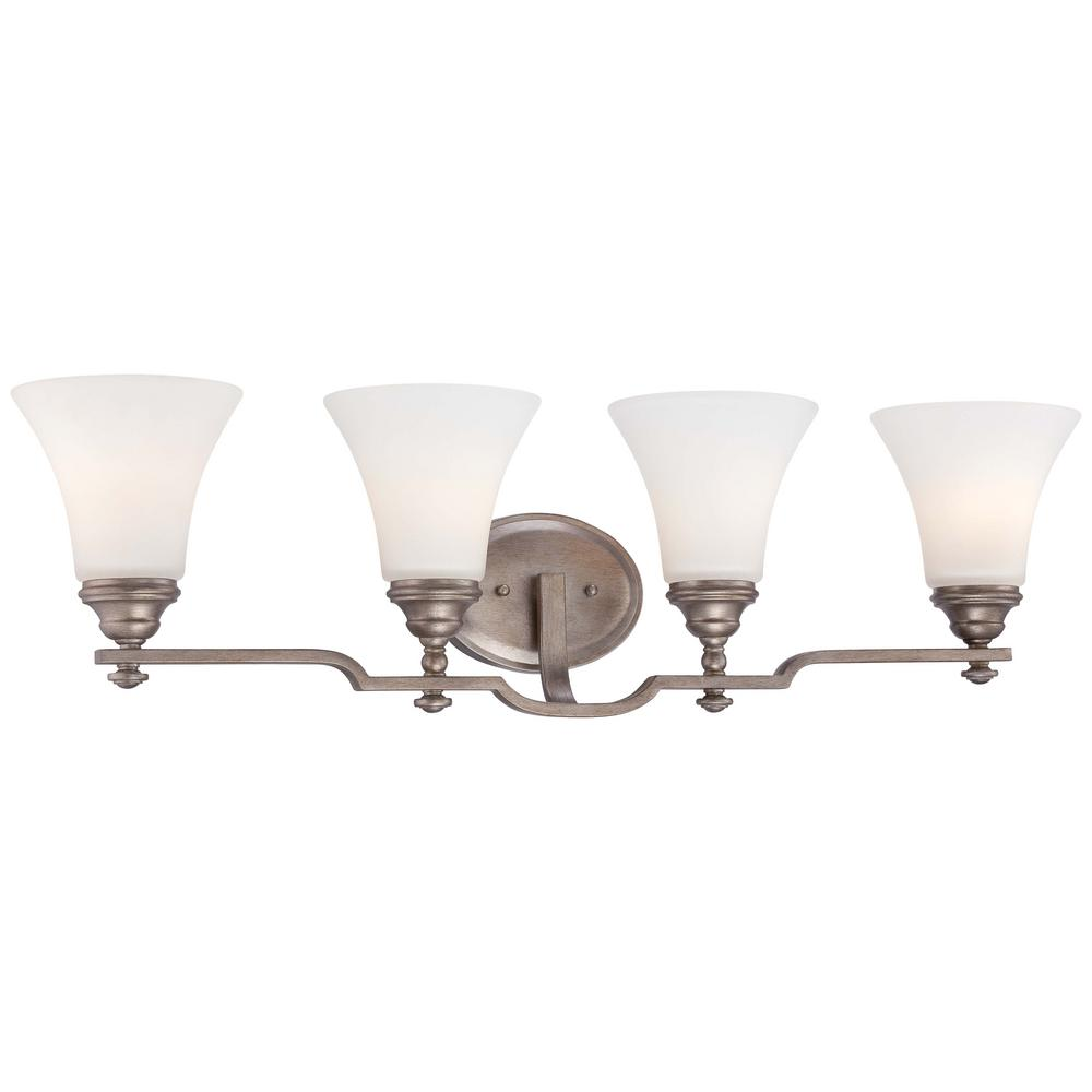 Minka Lavery Wellington Ave Midnight Gold Sconce with Etched White Glass Shade