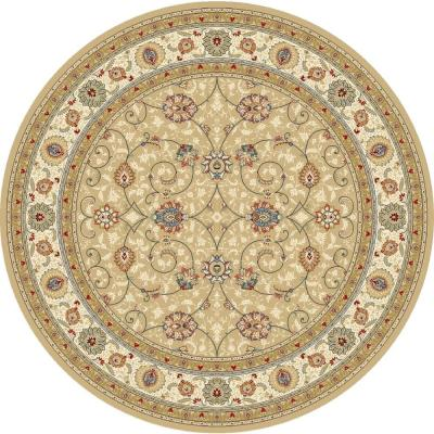 Vaughan Light Gold/Ivory 5 ft. x 5 ft. Round Indoor Area Rug