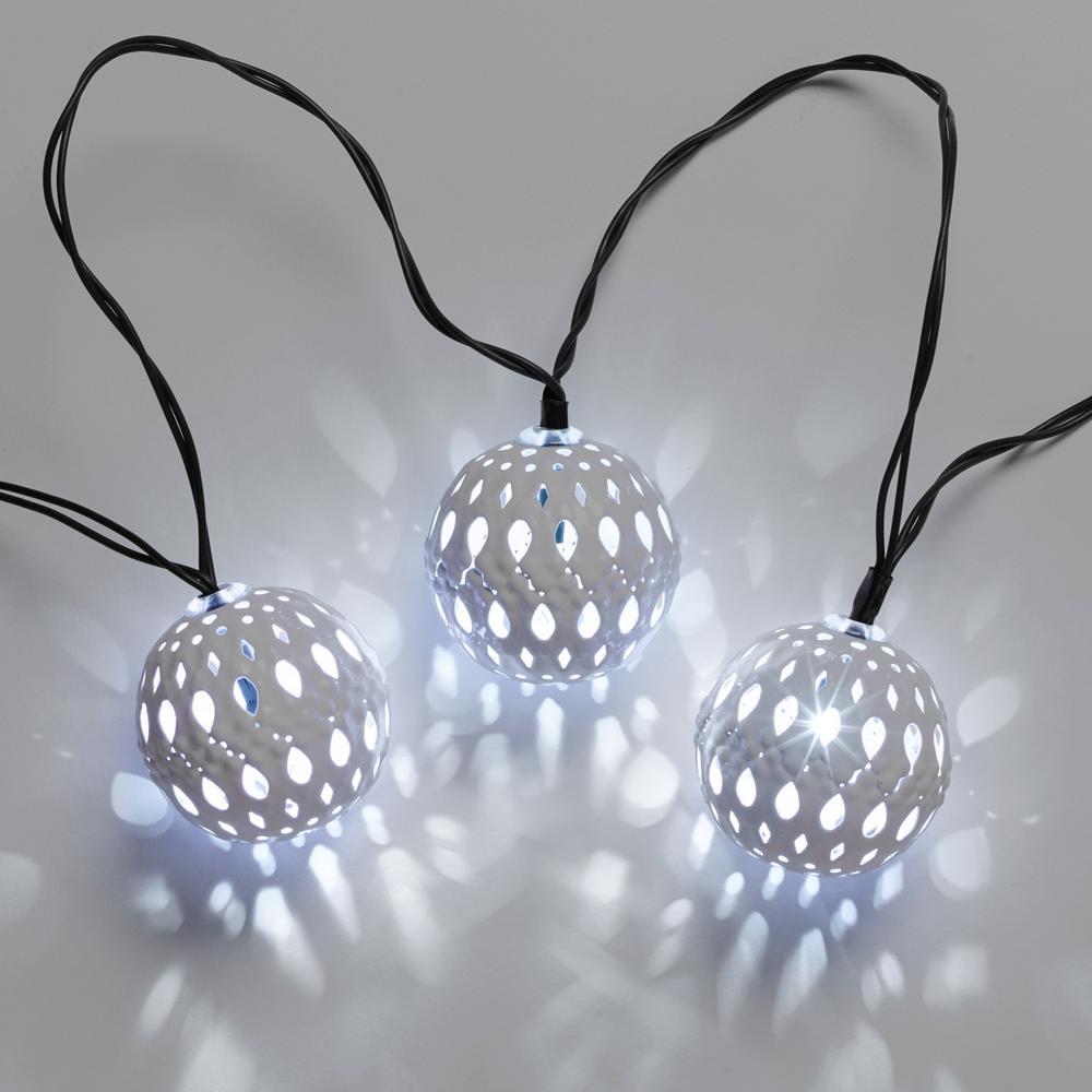 Carnivale White Lantern Solar String Light Set with Stake (20-Piece)