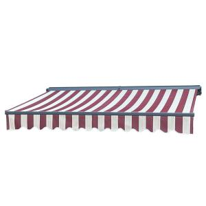 13 ft. Half Cassette Retractable Awning (120 in. Projection) in Multi-Stripe Red