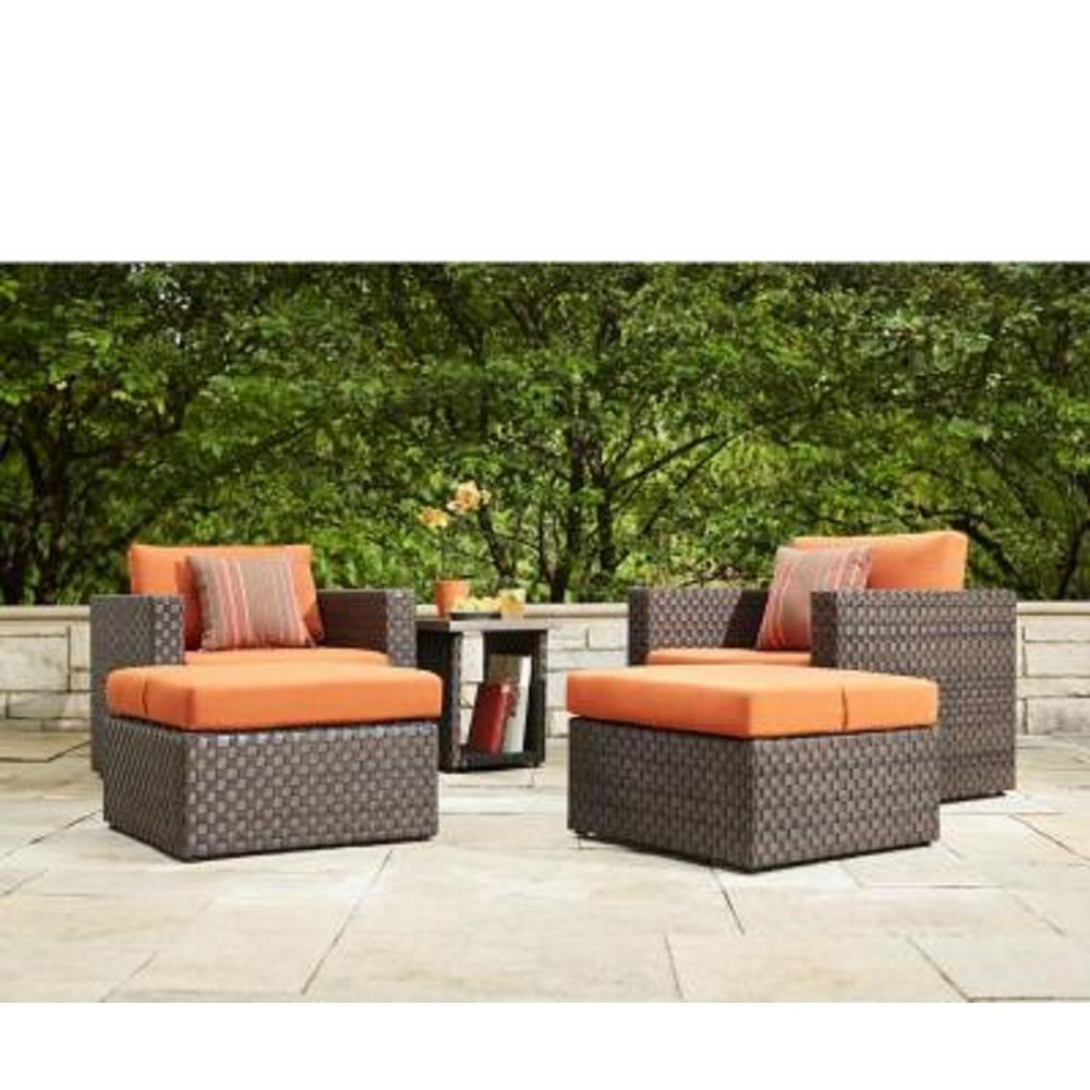 Valley Brown Resin Wicker Seating Set Sunbrella Canvas