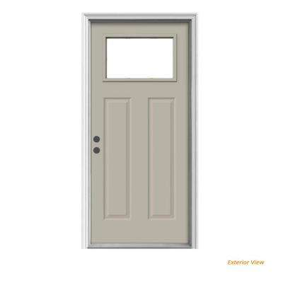 36 in. x 80 in. 1-Lite Craftsman Desert Sand Painted Steel Prehung Right-Hand Inswing Front Door w/Brickmould