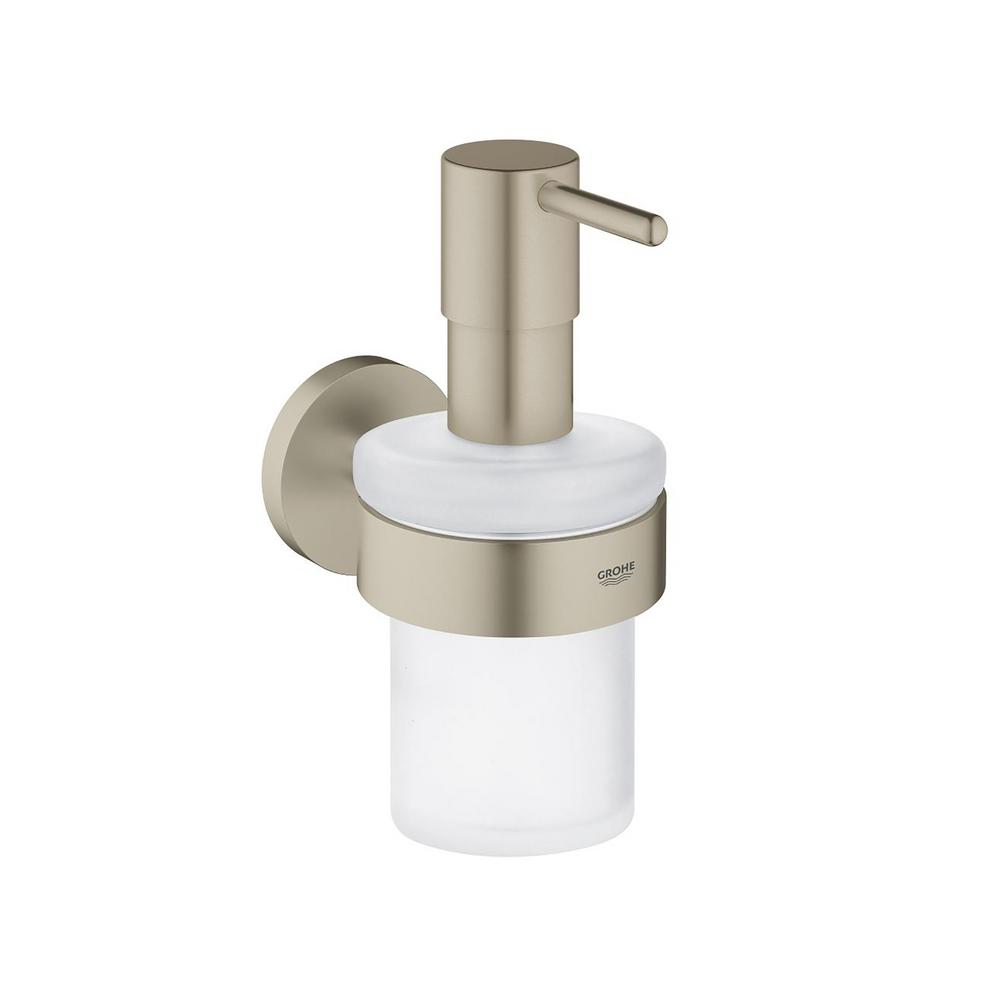 Grohe Essentials Wall Mounted Soap Dispenser With Holder In Brushed