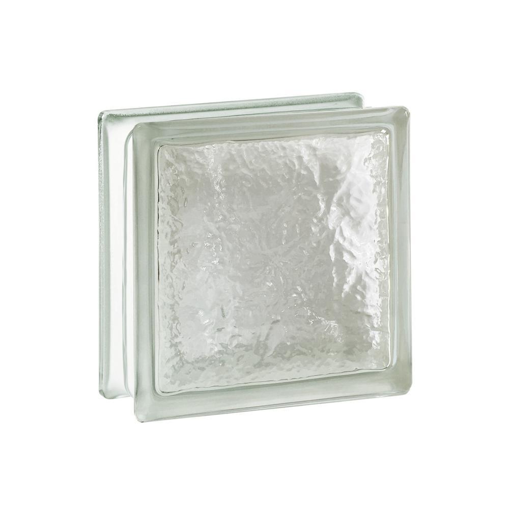 Cortina 7.75 in. x 7.75 in. x 3.875 in. Ice Pattern Glass Block (8-Pack)