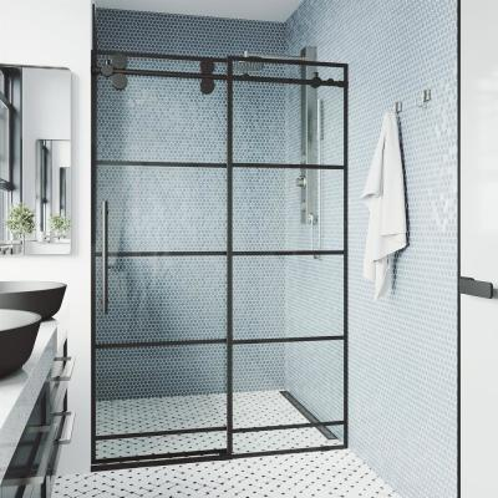 Elan 60 x 74 Frameless Sliding Shower Door in Matte Black with Handle