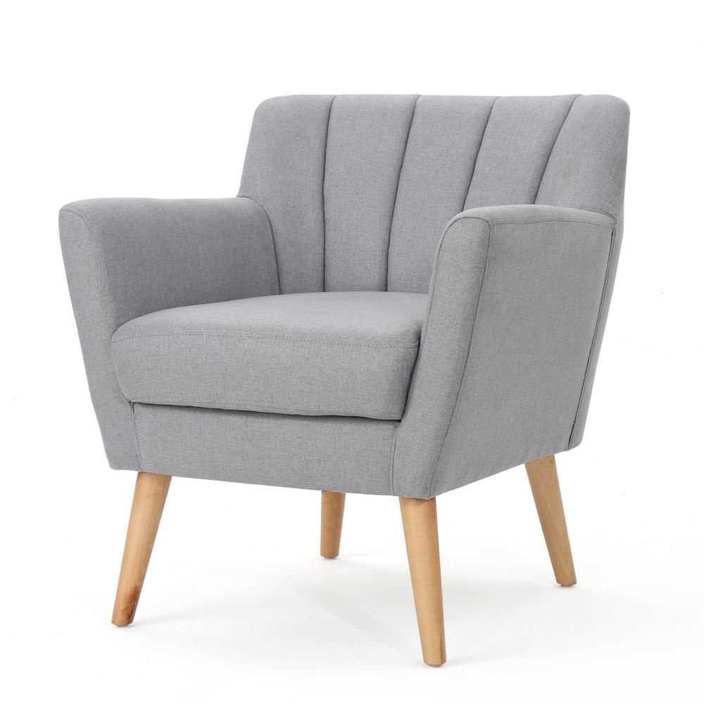 Merel Mid-Century Modern Light Gray Fabric Club Chair