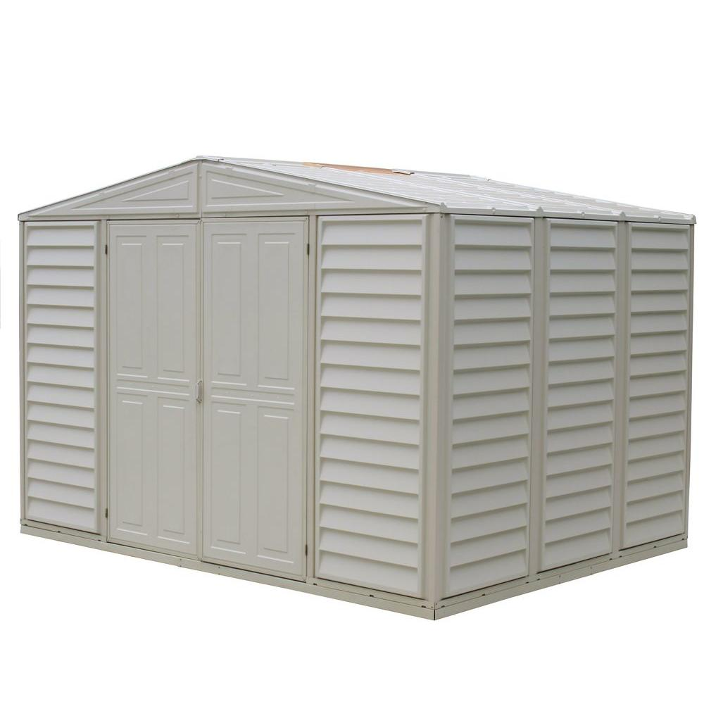 Duramax building products woodbridge 10 5 ft x 7 9 ft for Vinyl storage sheds