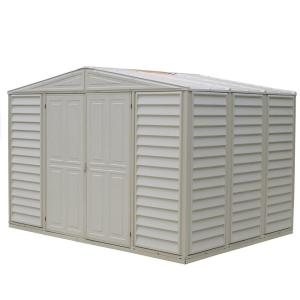 Click here to buy Duramax Building Products Woodbridge 10.5 ft. x 7.9 ft. Vinyl Shed with Foundation Frame by Duramax Building Products.
