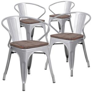 Silver Restaurant Chairs Set Of 4