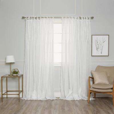 84 in. L White Faux Linen Tie Top Pinch Pleat Curtain