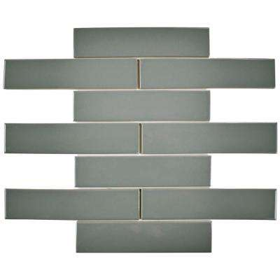 Metro Soho Subway Glossy Light Grey 1-3/4 in. x 7-3/4 in. Porcelain Floor and Wall Tile (1 sq. ft. / pack)
