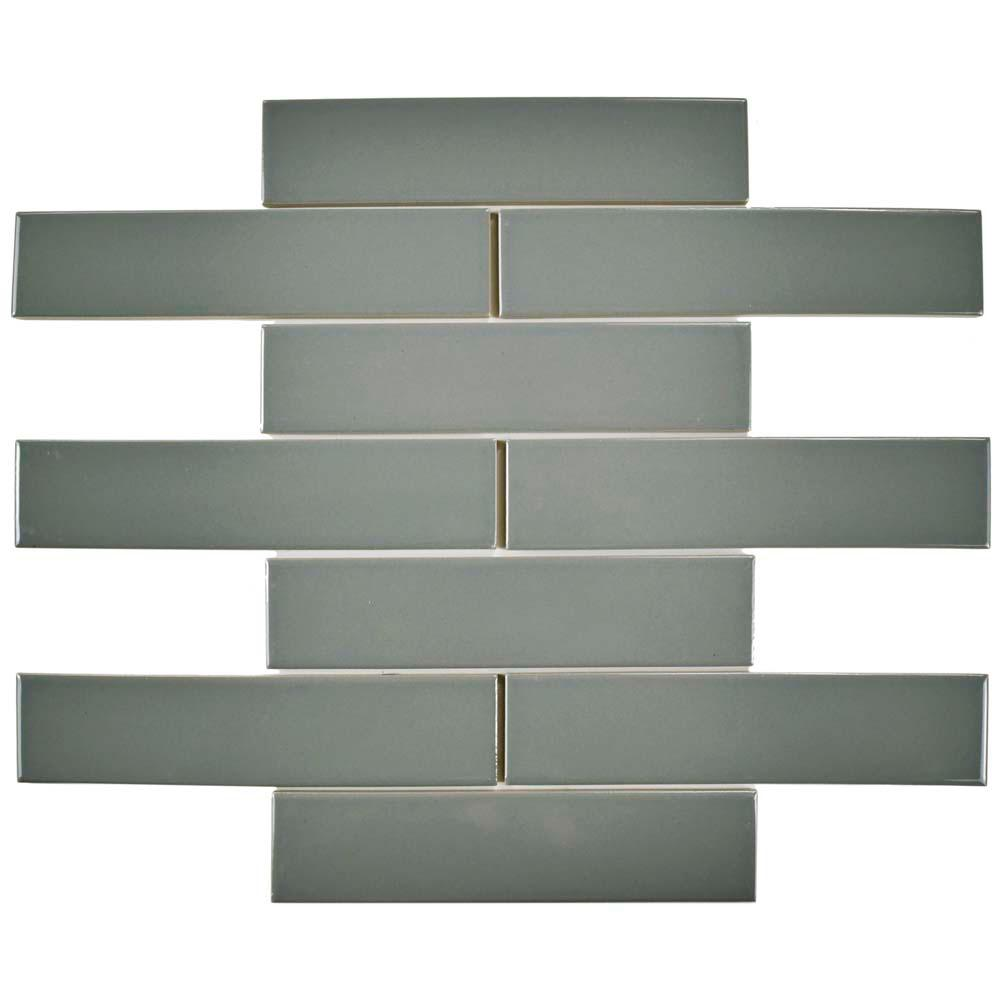Merola Tile Metro Soho Subway Glossy Light Grey 1 3 4 In X