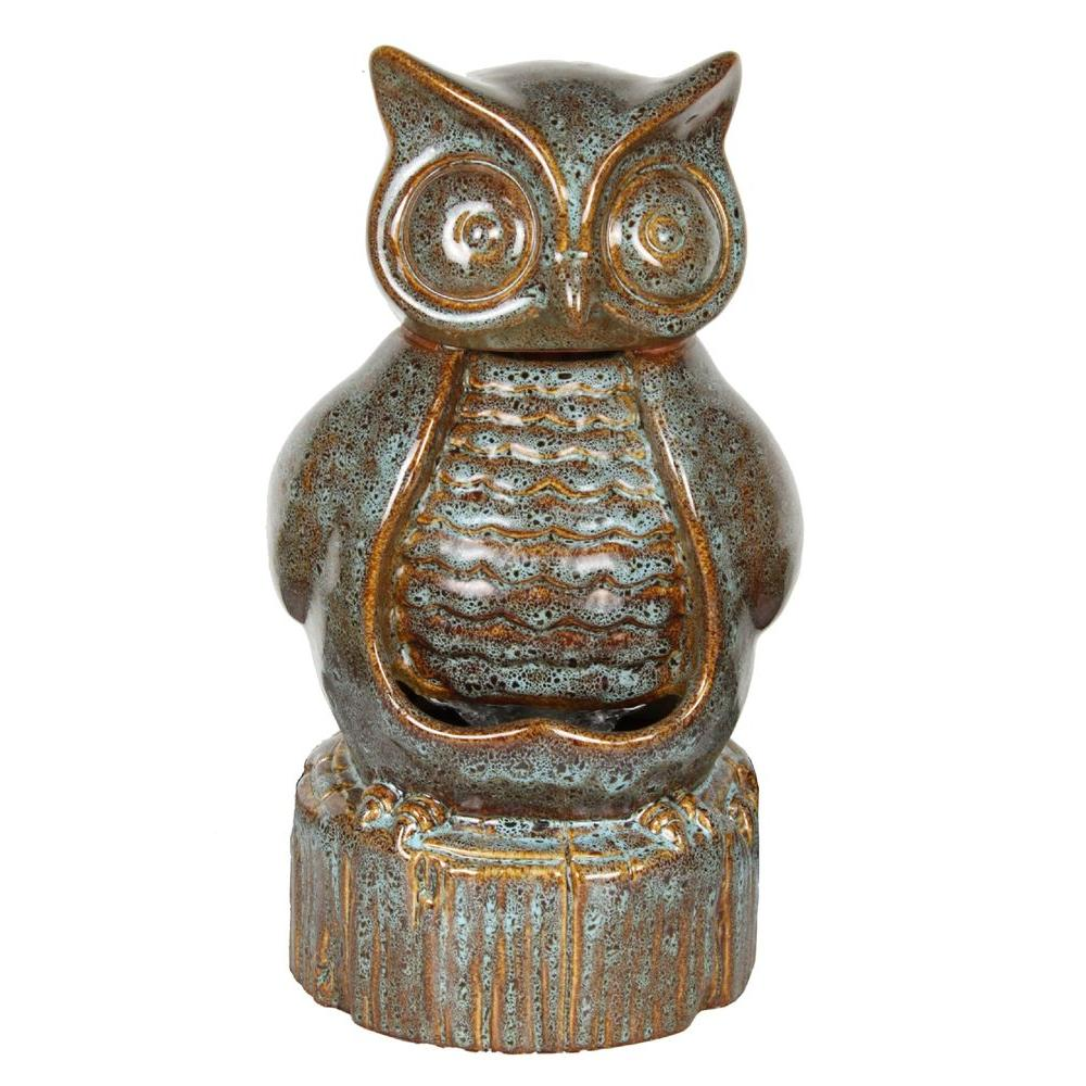 Beckett Ceramic Owl Fountain, Beige/Bisque