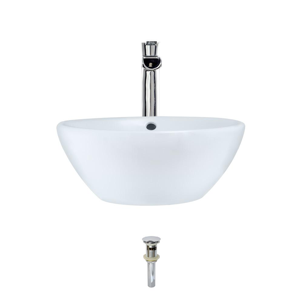 MR Direct Porcelain Vessel Sink in White with 731 Faucet and Pop-Up Drain in Chrome