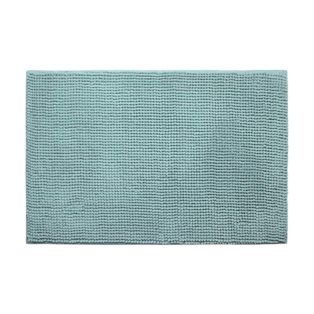 Plush Chenille Aqua 20 in. x 30 in. Memory Foam Bath Mat