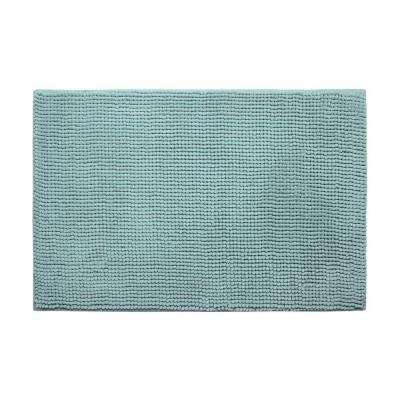 Plush Chenille Aqua 20 in. x 30 in. Memory Foam Bath Mat